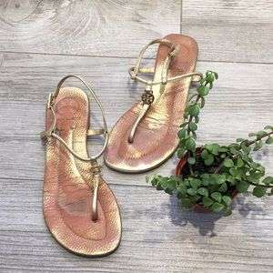 Tory Burch T Strap Gold Sandals Size 36